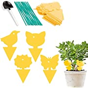 Whaline 48 Pack Yellow Sticky Fly Traps Dual-Sided Fly Catcher Plastic Bug Insect Gnat Traps Disposable Sticky Board for Mosquitos Fungus Gnats, Flying Aphid, Whiteflies, Leaf Miners, 4 design