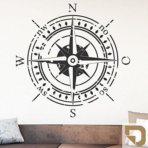 DESIGNSCAPE® Wandtattoo Himmelsrichtungen | Wandtattoo Kompass 58 x 58 cm (Breite x Höhe) hellbraun DW807374-S-F10