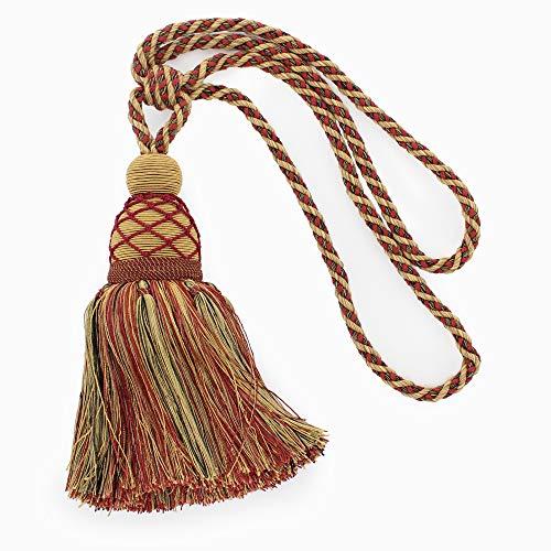 DÉCOPRO Large Elegant  Cherry, Dark Rust, Artichoke Curtain and Drapery Tassel Tieback 9 1/2 inch (24cm) Tassel 30 inch (76cm) Spread (Embrace) Style#: TBV095L (21421) Color: VNT21 - Allspice