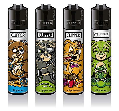 Clipper® Feuerzeuge - Bad Teddies - 4er Set