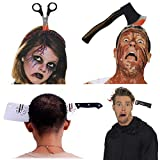 Halloween Costume Scary Weapon Headbands, 4 Packs Rubber Plastic Knife Axe Cleaver and Scissor Through Head, Zombie Accessories Makeup for Teen Girls Boys Men Women Adults Clearance Gifts