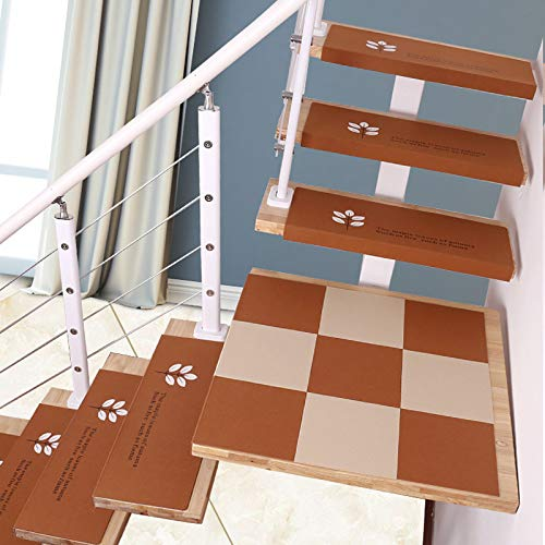 5 Pezzi tappetini per tappeti Luminosi, tappeti per Scale Marrone tappeti, Protezioni per Scale, tappeti per Scale per tappeti, 75 * 21,5 * 4 cm,Brown~B-L