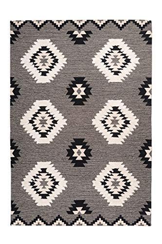 One Couture Inka Teppich Maya Design Azteken Muster Teppiche Modern Zick Zack Grau Creme Wohnzimmerteppich Esszimmerteppich Teppichläufer Flur-Läufer, Größe:120cm x 170cm