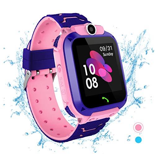Smartwatch per bambini - Impermeabile IP67 LBS Tracker Orologio Telefono con SOS Chiamata Chat Vocale Gioco di Videocamera di Allarme per 3-14 Anni Ragazzi Ragazze Festa Regalo di Compleanno (Rosa)