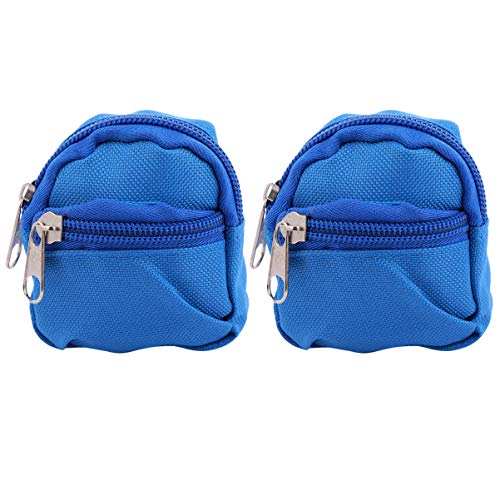 VALICLUD 2 Pcs Mini Coin Purse Keychain Miniature Backpack Shaped Coin Change Money Organizer Bag Portable Tiny Wallet Keyring for Adults Children Blue …