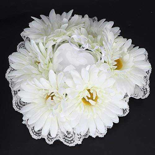 Redxiao 【𝐕𝐞𝐧𝐭𝐚 𝐏𝐫𝐢𝐦𝐚𝒗𝐞𝐫𝐚】 Cojín de Anillo en Forma de corazón Europeo romántico de Moda de 7.5x7.5in, cojín de Anillo de Novia portátil, para la Boda de la Sala de Estar(White)