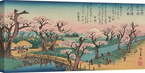 Art Print Cafe – Cuadro, Arte japonés – Impresion sobre Lienzo - Ando Hiroshige, Evening Glow at Koganei Bridge, 1838 (Detalle) – 100x50 cm