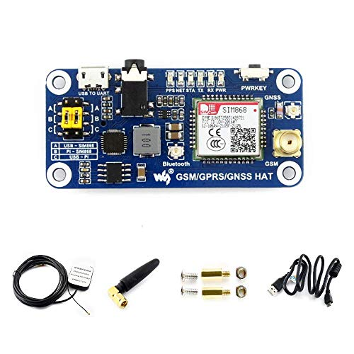 Waveshare Raspberry Pi GSM/GPRS/GNSS/Bluetooth HAT Expansion Board with Low-Power Consumption Based on SIM868 Compatible with Raspberry Pi 2B 3B Zero Zero W