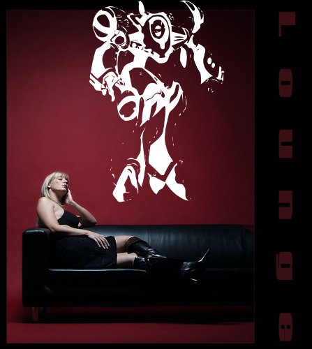 PEMA INDIGOS UG W095 Sticker mural Motif robot Cyborg Noir 96 x 64 cm