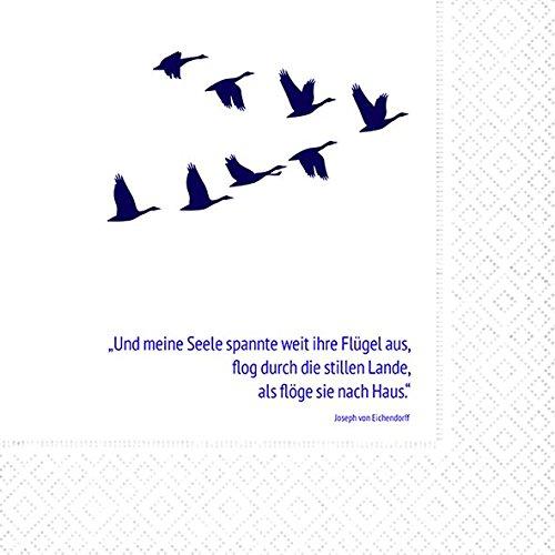 20 Servietten 33x33 cm Trauer Gedenken Vögel Unvergesslich Trauerfeier