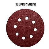 WHLEHL Papel de lija,100 pcs/set 125mm Discos de lijado redondos secos Papel de lija flocado 5 pulgadas 8 agujeros Abrasivos de arena para pulido, 100PC 150grit