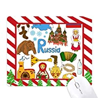 ロシアの風景の動物の国旗 ゴムクリスマスキャンディマウスパッド
