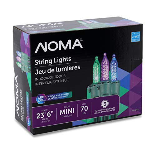 NOMA Premium Mini LED Christmas Lights | 70 Purple, Blue & Green String Lights | Indoor & Outdoor| 23.6-Foot Strand