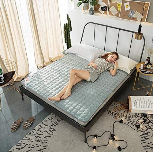WANGT Folding summer Cooling Mat,Soft Comfortable Mattress Breathable ice silk cooling summer sleeping mat for single double mattress home school,Gray,90 * 200cm