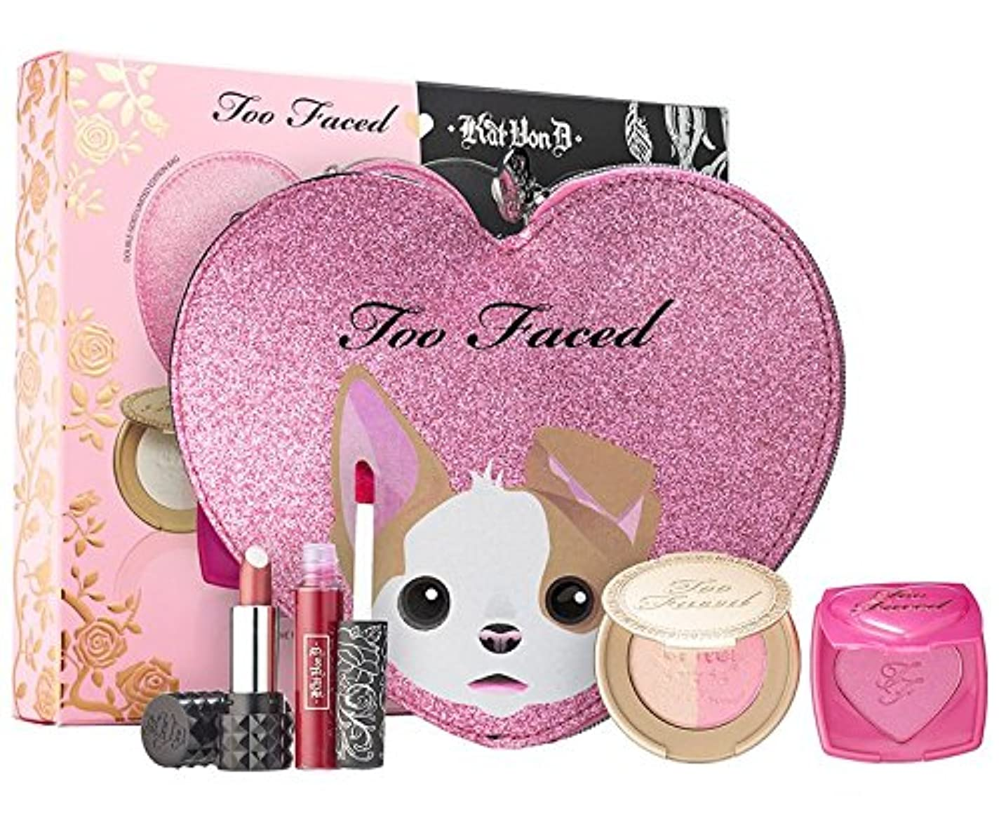理論レクリエーションハミングバードToo Faced x Kat Von D ~ Better Together Cheek & Lip Makeup Bag Set ~ Limited Edition