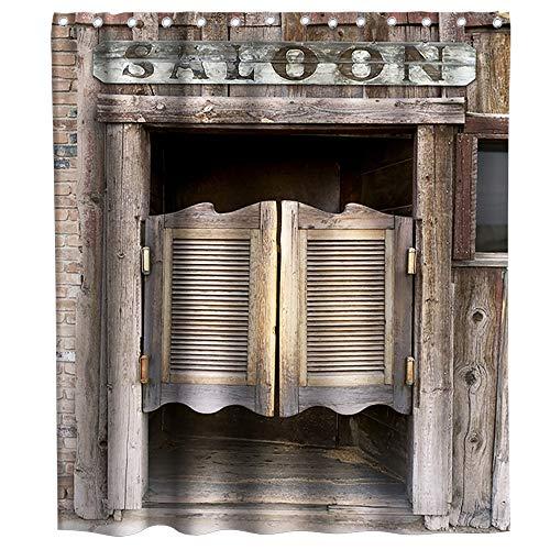 Rideau de douche rustique vintage style western avec crochets - Motif porte en bois - Imperméable et lavable - 183 x 183 cm - Marron