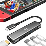 USB Type C to HDMI Digital AV Multiport Hub, USB-C (2USB3.1) Adapter PD Charger for Nintendo Switch, 4K HDMI Dock for Samsung Dex Station S10/9/8/Tab S6/S5 MacBook Portable Travel TV Docking Station