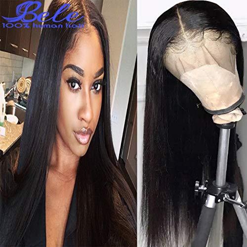 Bele 10A pre-gezupft Brasilianische glattes Haar Spitze Frontal Perücken 130% Dichte Menschliche Reine Haarverlängerungen Mit Babyhaar 10 Zoll