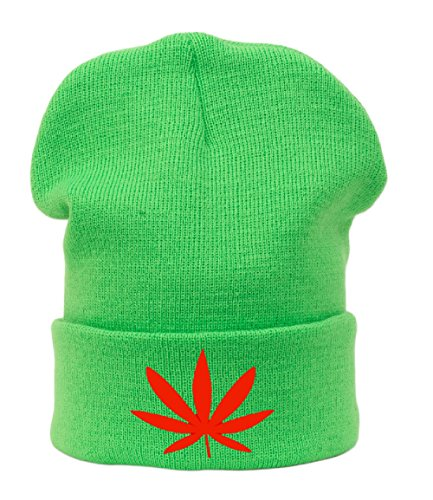 Beanie hat Bonnet Fashion Jersay Oversize Bad Hair Day Fresh I Love Gunja Weed Leaf
