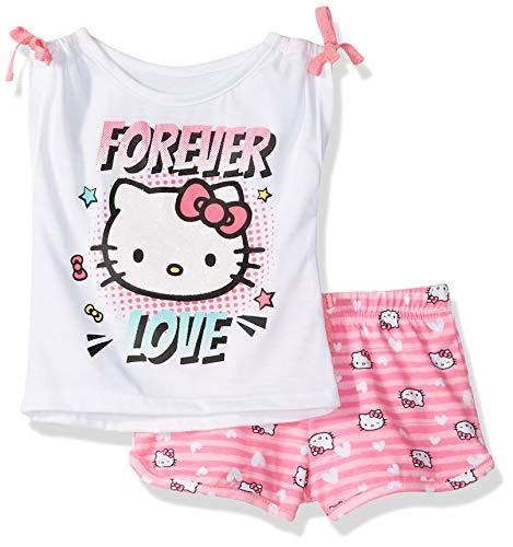Hello Kitty Baby-Mädchen Girls with Embellished Fashion Top Short-Set, weiß, 12 Monate
