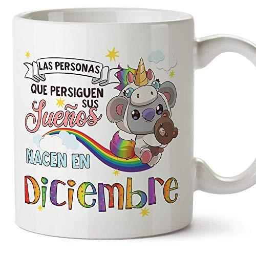 MUGFFINS Taza de Cumpleaños Koala mes de Diciembre - Detalles Desayuno Feliz Cumpleaños/Aniversario. Cerámica 350 mL