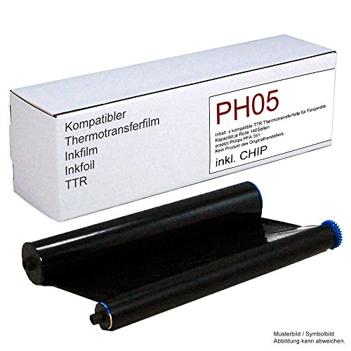 Kompatible Thermotransferfolie ersetzt für Philips Magic 5 Faxgeräte/ersetzt PFA 351 und PFA 352 Kapazität 140 Seiten, mit Chip