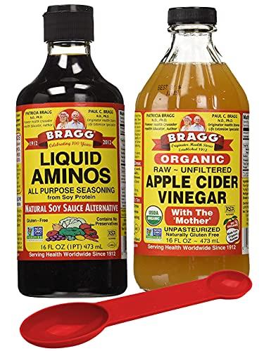 Bragg's Health Variety Pack: Bragg Organic Liquid Aminos 16 oz + Bragg's Apple Cider Vinegar Organic Raw Unfiltered, 16 Oz; with Bonus Measuring Spoon
