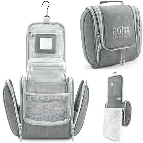 GO!elements® Kulturbeutel Kulturtasche zum Aufhängen Herren & Damen | Kosmetiktasche groß Mann Frauen für Koffer & Handgepäck | Waschtasche Reise-Tasche, Farbe:Grau