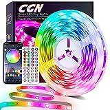 Tiras LED 15M, CGN Tira de Luz LED Bluetooth Multicolor Luces LED RGB 5050 Iluminación de Música con Control Remoto de 44 Teclas 16 Millones Colores 28 Estilos Decoración Para Habitación Fiestas