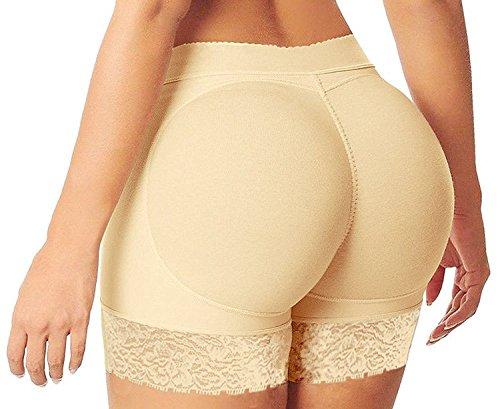 HelloTem Women Lace Padded Seamless Butt Hip Enhancer Shaper Panties Underwear, Beige, (US Size 6-8) L