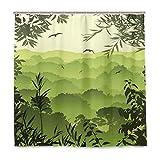JOOCAR Cortina de ducha de diseño, diseño de bosque verde con árboles de té y gaviotas en las ramas de pájaros de la selva, juego de decoración de baño de tela impermeable con ganchos