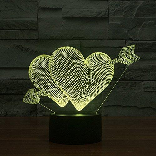 ZYEDENG® 3D Smash Through The Heart Lampe LED 7 Couleur Nuit Lumière Atmosphère Lampe Lampe de table Lampe de chevet Décoration de Chambre Enfants Cadeaux Jouets