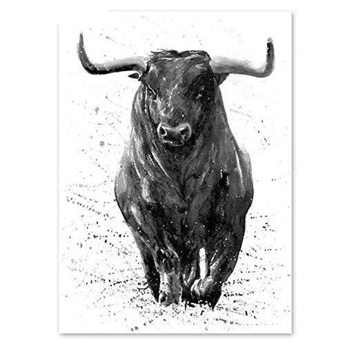adgkitb canvas Puzzle 1000 Piezas Blanco y Negro Acuarela Animal Toro/Rompecabezas Ensamblaje de Juguetes con imágenes para Adultos niños Juegos educativos 50x75cm