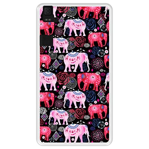 Hapdey silikon Hülle für [ Bq Aquaris E6 ] Design [ Helles Muster von rosa & roten schönen Elefanten ] Transparenz Flexibles TPU