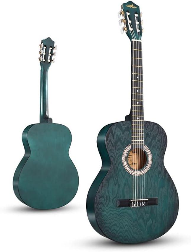 SiaohtG Paquete de Cuerdas de Nailon para niños, Guitarra acústica, afinador LCD clásico de 39 Pulgadas, púas de Guitarra, Correa, Verde Oscuro/Azul Claro/Azul Oscuro/Amarillo