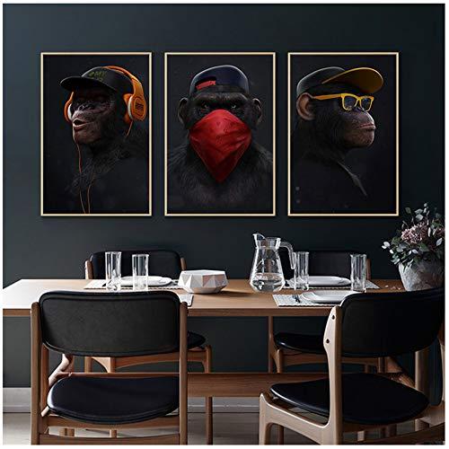 """Imprima en lienzo Mono de pensamiento divertido con auriculares Lienzos Pinturas Arte de la pared Carteles e lienzos de animales para la decor de la sala de estar 27.5 """"x 39.4"""" (70x100cm) x3 Sin marco"""