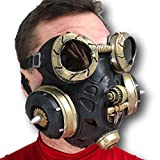 Steampunk Gas Mask Men, One Size, Black and Gold, Latex, Cosplay Mask for Men, Movie Quality Steampunk Mask, Daft Cosplay, Victorian, Hand Painted Masks