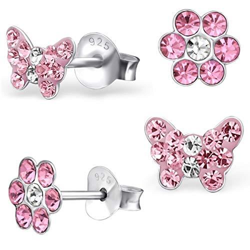 2 Paar Rosa Ohrstecker Kleine Kristall Schmetterling + Blume 925 Echt Silber Mädchen Kinder Ohrringe (Motiv-1 Rosa)