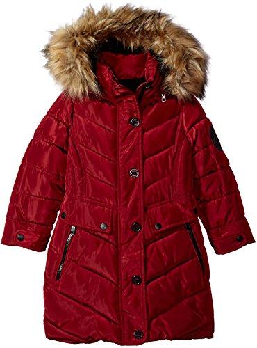 Weatherproof Big Diesel Girls' Outerwear Jacket (More Styles Available), Long Bubble-WG160-Beet Red, 7/8