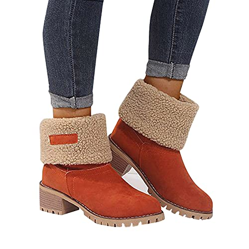 seanxw Women Warm Winter Boots Ankle Short Booties, Comfortable Wedges Ankle Boots Fashion Snow Boot Short and High Boots Thick Heel Shoes
