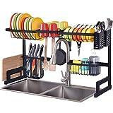 Kingrack Égouttoir à vaisselle pour évier - Grande capacité - Étagère, 2 étages avec crochets pour ustensiles, comptoir de cuisine - Rangement pour assiettes et pots