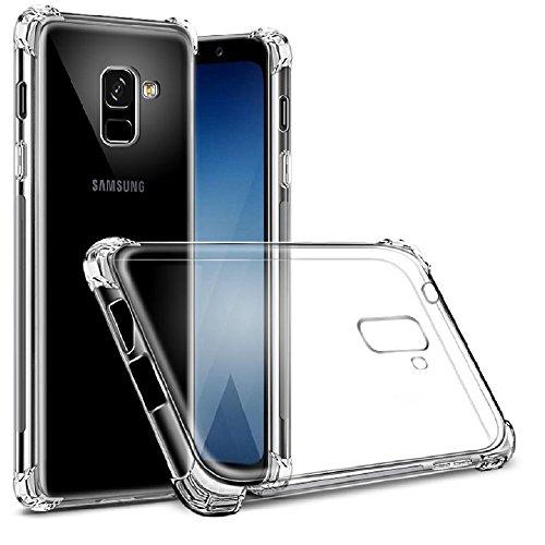 REY Funda Anti-Shock Gel Transparente para Samsung Galaxy A8 2018, Ultra Fina 0,33mm, Esquinas Reforzadas, Silicona TPU de Alta Resistencia y Flexibilidad