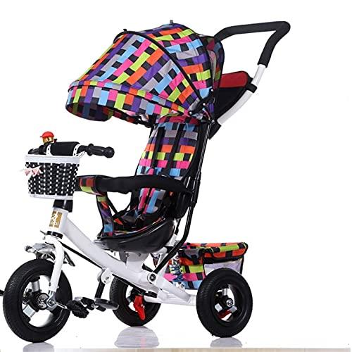 HYAN NIÑOS 3-Wheeler, Coche de niños doblados, cochecitos de 1 a 5 años para Caminatas para niños con Dosel removible Resistente a la Intemperie (Color : A)