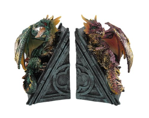 Metallic Gothic Dragon Bookends Book Ends Medieval