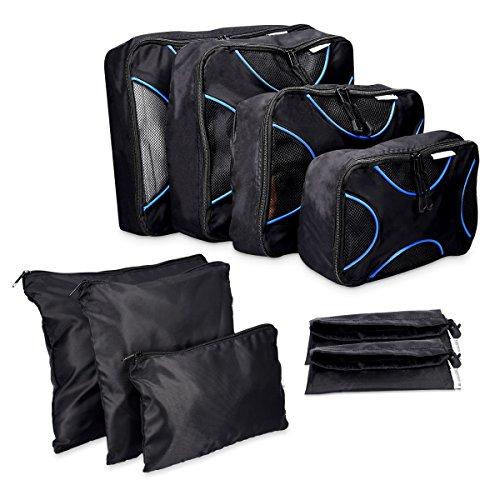 Navaris set di 9 Organizer per valigia - Sistema di borse e sacchetti organizzatori per vestiti scarpe - Astucci da viaggio per valigie - nero blu