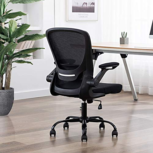 FALUODA Home Office Chair Height Adjustable Upholstered Mesh Swivel Computer Office Ergonomic Desk Chair with Lumbar Support (Black, 03)