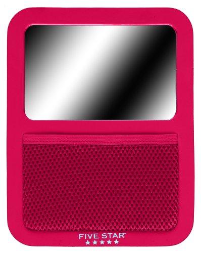 """Five Star Locker Accessories, Magnetic Locker Mirror with Storage Pocket, 7"""" x 9"""", Red (72588)"""