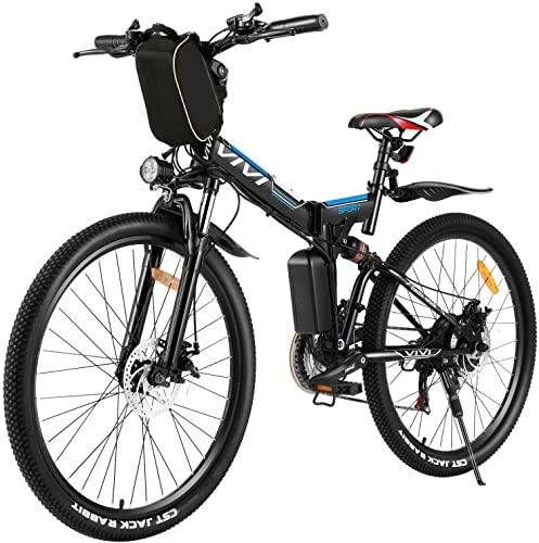 Vivi 26' Vélo Électrique Pliable, 250W VTT Électrique Homme Femme,Vélo Électrique en Montagne pour Adulte, Batterie Amovible Professionnel 21 Vitesses E-Bike (Le Noir)