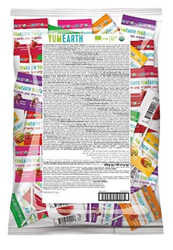 YumEarth - Piruletas Orgánicas de Frutas 8 sabores: Granada, Sandía, Fresa, Uva, Cereza, Melocotón, Frutos rojos y Mango - 100 unidades