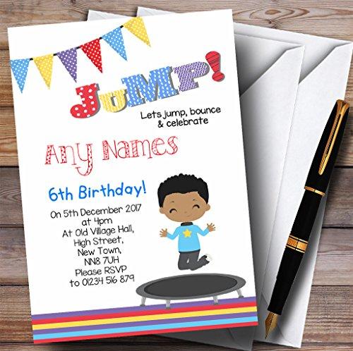 Kinderfeest nodigt donkere huid jongen Trampoline kinderen verjaardag partij uitnodigingen met enveloppen - elke aangepaste tekst voor elke gelegenheid 150 Cards & Envelopes